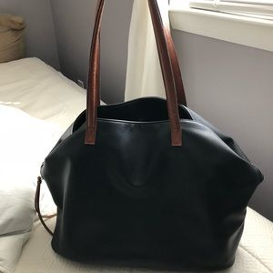 Black & Brown Leather Tote Bag -Lightly used